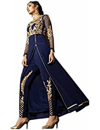 ARYAN FASHION Designer Blue Embroidered Party Wear Long Suit Semi-Stitched Suit ( Bottom Unstitched)