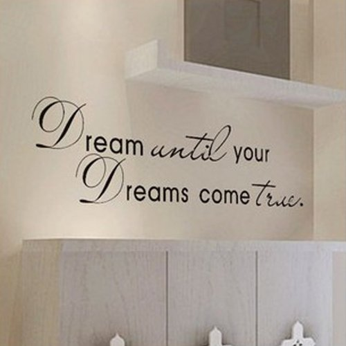 MZY LLC (TM) Dream Until Your Dreams Come True Wall Famous PVC Wall Sticker Decal Quote Art Vinyl