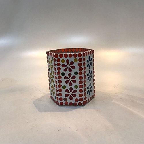 Dlite Crafts Multicolor Polka Design Home Decorative Votive Candle Holder, Set Of 2 PCs - B06XYJW4JG