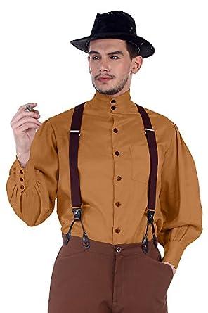 Victorian Men's Shirts- Wingtip, Gambler, Bib, Collarless Steampunk Victorian Costume Seigneur Shirt [Gold]  AT vintagedancer.com