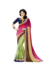 Light Green And Pink Half-and-Half Soft Net Party Wear Designer Saree