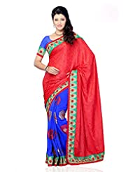 Shariyar Red And Blue Jacquard And Georgette Embroidery Saree PRG384