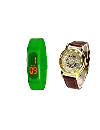 COSMIC BROWN BELT SKELETON WATCH WITH FREE UNISEX LED BAND(GREEN)