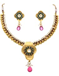 JFL - Awesome Antique Designer Green N Pink One Gram Gold Plated Diamond Stone Necklace Set For Women