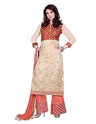 Lookslady Embroidered Beige Net Thread Work Semi Stitched Salwar Suit