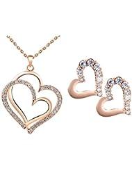 Combo Of Kaizer 18K Rose Gold Plated Heart Pendant Swarovski Element With Heart Earring DS-03 For Women/Girls