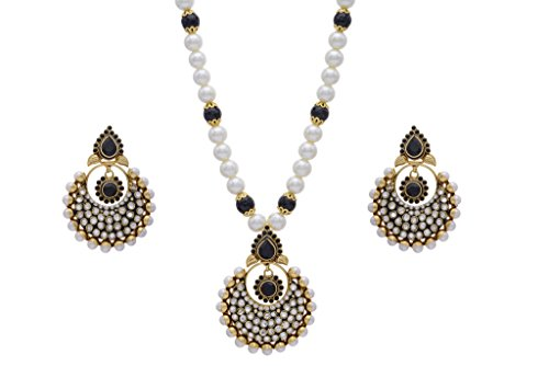 ANTIQUE GOLDEN PENDANT SET WITH SHELL PEARLS - B00N2YIZGC