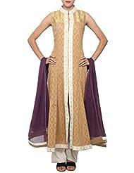 Kalki Fashion Brown Anarkali Suit Embellished In Gotta Patti Embroidery