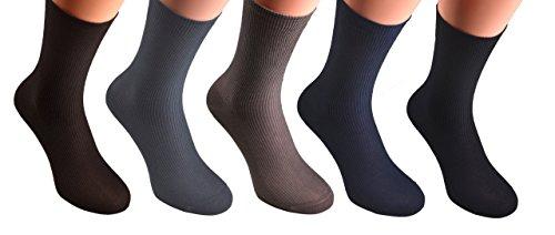 10 Paar 7002-1 Gr. 43/46 Herren Damen Socken ohne einschneidenden Gummi, für Diabetiker geeignet Gesundheitssocken, Baumwolle