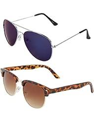 Zyaden COMBO Of Avaitor Sunglasses & Clubmaster Sunglasses (Combo-79)