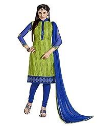 Inddus Women Green & Blue Cotton Unstitched Dress Material