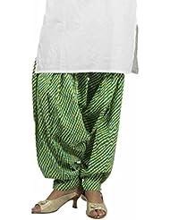 Rama Designer Green,Yellow,white Color Printed Free Size Awsome Flared Cotton Patiala