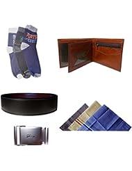 Men's Cotton Ankle Socks, Men's Cotton Multicolor Handkerchief, Men's Leather Wallet And Men's Reversible Leather...