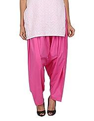 Womens Cottage Pink Dark Pure Cotton Semi Patiala Bottoms