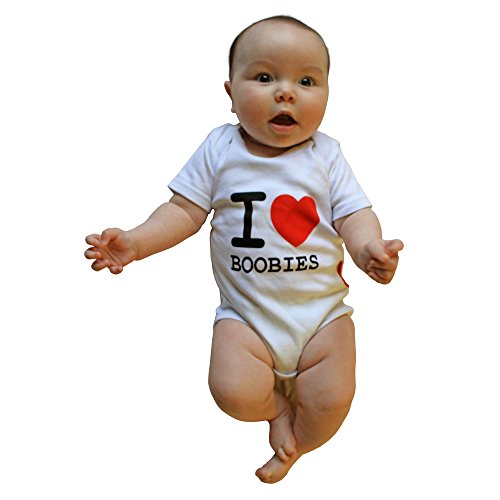 I Love Boobies Fun Print Cool Baby Onesie - Made of 100% Cotton - White 0-3 Months