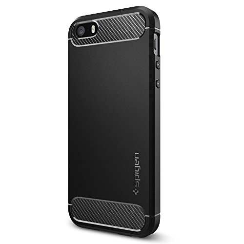 Coque iPhone SE, Spigen Coque iPhone 5S / 5 [Rugged Armor] Resilient [Black] Ultimate protection from drops and impacts Housse Etui Coque Pour iPhone ...