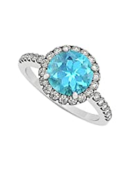 December Birthstone Created Blue Topaz And Cubic Zirconia Halo Engagement Ring In 925 St - B00UJG4JVQ