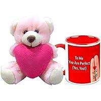 Valentine Gift HomeSoGood To Me You Are Perfect White Ceramic Coffee Mug With Teddy - 325 Ml