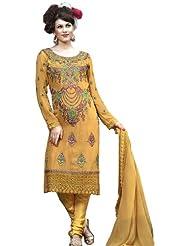 Exotic India Golden Apricot Choodidaar Kameez Suit With Metalli - Golden Apricot