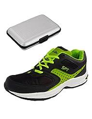 Spot On Men's Black Green Sports Shoes & Cardholder Combo