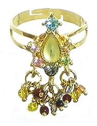 Green Stone Studded Jhalar Adjustable Ring - Stone And Metal