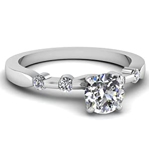 Bezel Set .90 Ct Round Cut F-Color Diamond Tetrad Series Engagement Ring SI1 GIA Certificate # 2155684299