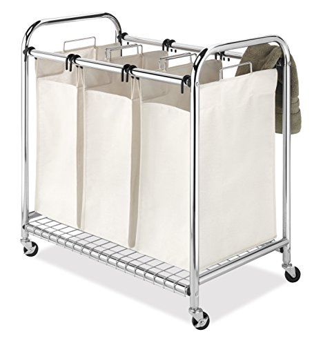 Whitmor 6097-5794 Deluxe Chrome Triple Laundry Sorter, Tan