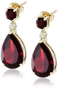 10k Yellow Gold, Garnet, and Diamond Drop Earrings