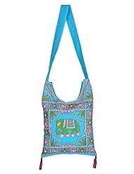 Rajrang Handmade Designs Elephant Printed Cotton Embroidered Work Turquoise Sling Bag