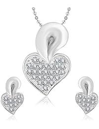 Meenaz Pendant Set For Women & Girls Earrings In American Diamond Silver Plated CzPT177