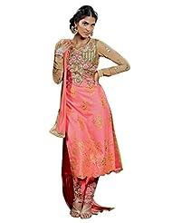 Peach Colour Premium Net Wedding Wear Zari Thread Floral Embroidery Churidar Suit (Kimora) 1104 - B015UE007S