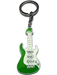 City Choice Studded Guitar Shape Green Full Metal Key Chain