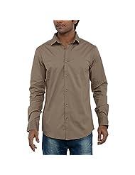 Poe Men's Casual Slim Fit Shirt ( Dk Beige )