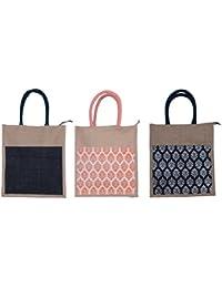 ABV Jute Lunch Bag, Pack Of 3 Jute Bag Black And Designer Printed Bag