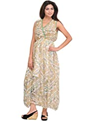 Exotic India Snow-White Summer Dress With Printed Paisleys And Waist Sas - White