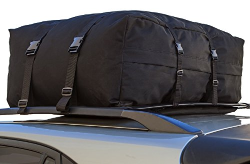 OxGord CARC-1143-BK 15-Cubic Feet Roof Top Cargo Rack Waterproof Carrier Bag for Vehicles