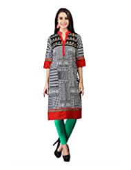 Fabdeal Grey & Red Colored Cotton Printed Kurti