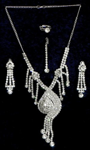 White Stone Studded Necklace Set With Mang Tika And Ring - Stone And Metal - B00K4FVKAA
