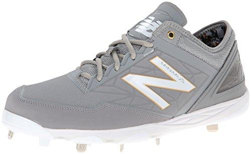New Balance Men's MBB Minimus Low Baseball Shoe,Grey/White,1