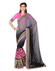 Designersareez Women Grey Faux Georgette Saree With Unstitched Blouse (1795)