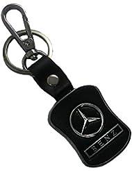 Techpro Premium Quality Leatherite Black Keychain With Mercedes-Benz Design