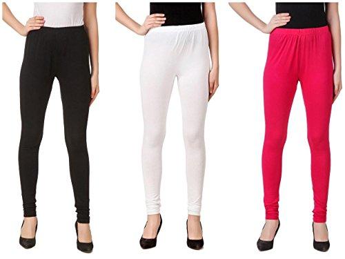 Svadhaa White Black Dark Pink Cotton Lycra Leggings(Pack Of 3)
