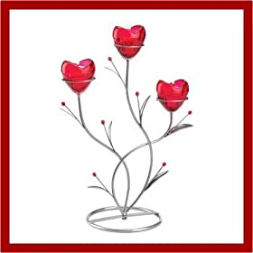 RUBY RED HEART BOUQUET CANDLEHOLDER WEDDING CENTERPIECE