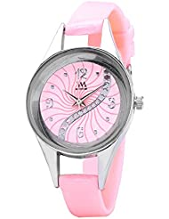 WATCH ME SILICON RUBBER MULTICOLOR PINK RED GOLD SILVER WATCH FOR WOMEN AND GIRLS WM-098-PK