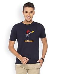 Campus Sutra Blue Round Neck Tshirt Bats Man