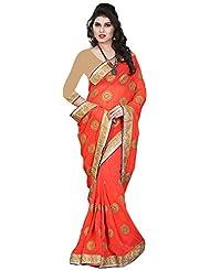 Balaji Women's Chiffon Saree(Os699944,Orange)