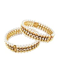 Bijoux Gold Plated CZ Double Tone Bangles For Women (Bn RJ 0268)
