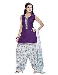 Ritu Creation Women's New Cotton Stitched Patyala Suit With Top Pintex And Printed Dupatta&Patyala(Purple)