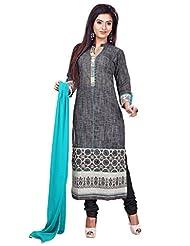 Dark Grey Handloom Cotton Readymade Salwar Kameez Dress - Machine Patch Work In Top