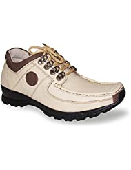 Genuine Leather Stylish Beige N Brown Lace Up Formal Shoes